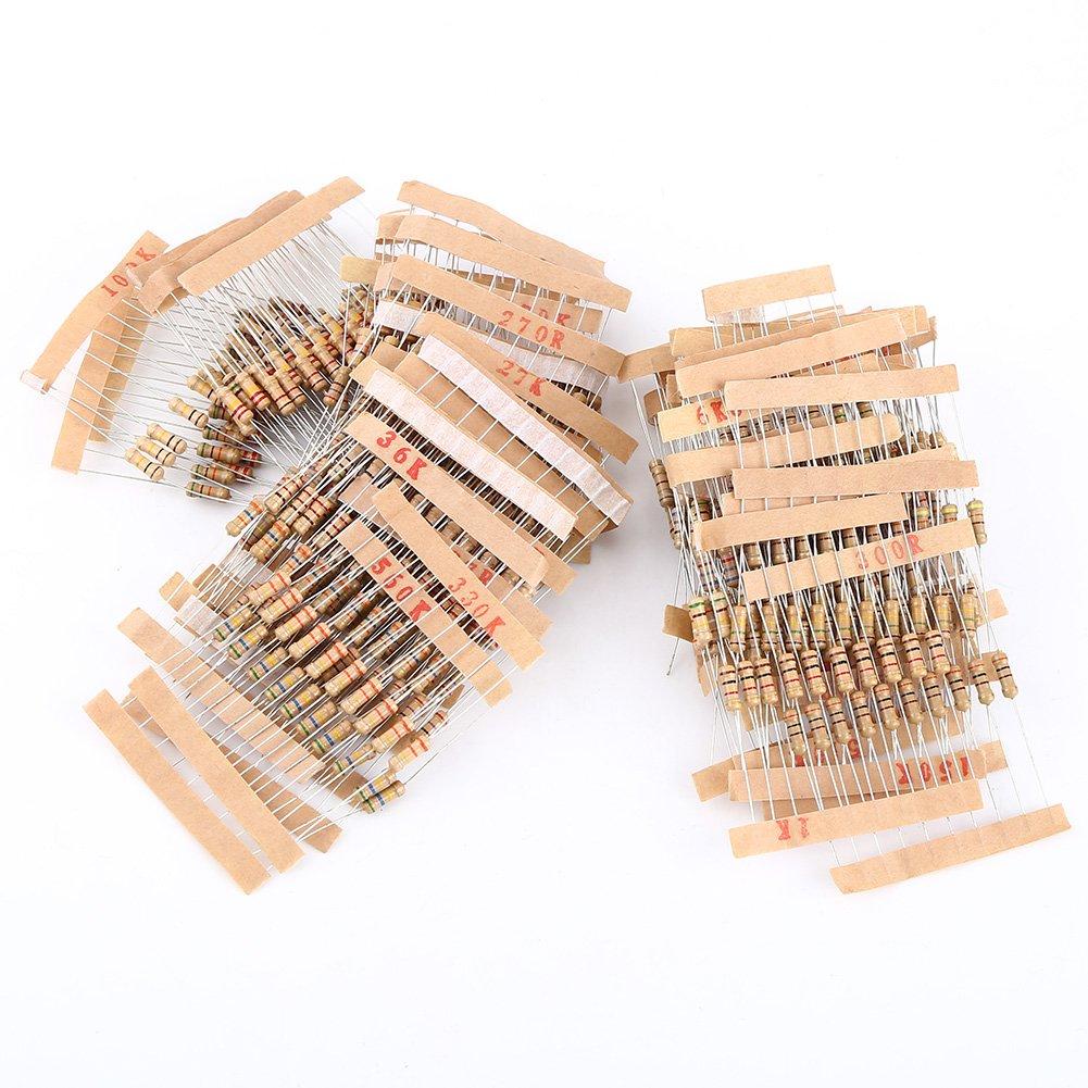 Carbon Film Resistors Assortment Kit, 1000pcs 1/2W 1-10M ohm Resistors for DIY Electric Projects and Experiments