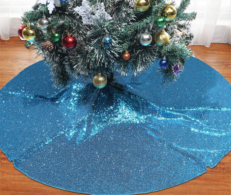 SquarePie Christmas Tree Skirt Sequin Glitter Halloween Decoration 50-Inch Turquoise