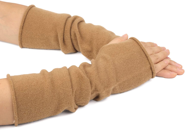 Flammi Women's 100% Cashmere Knit Arm Warmer Gloves Fingerless Mittens