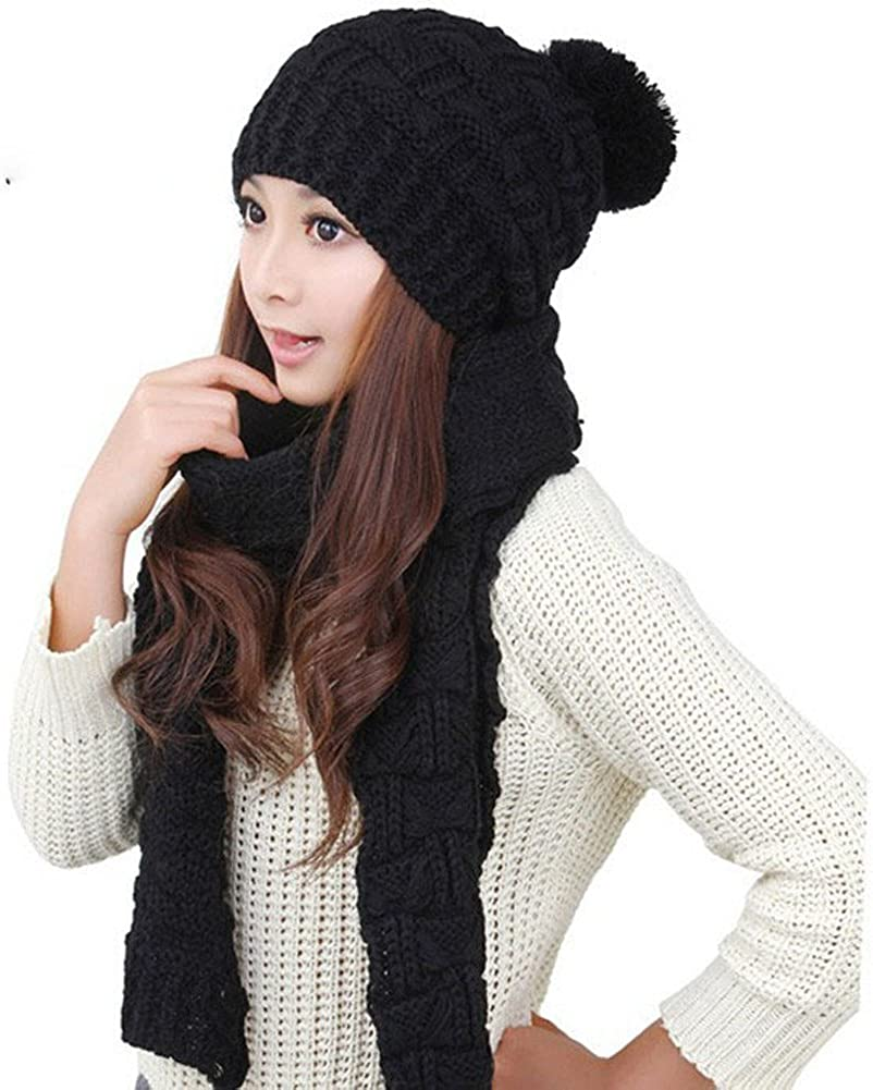 MINAKOLIFE Womens Winter Knitted Scarf and Hat Set Thicken Skullcaps