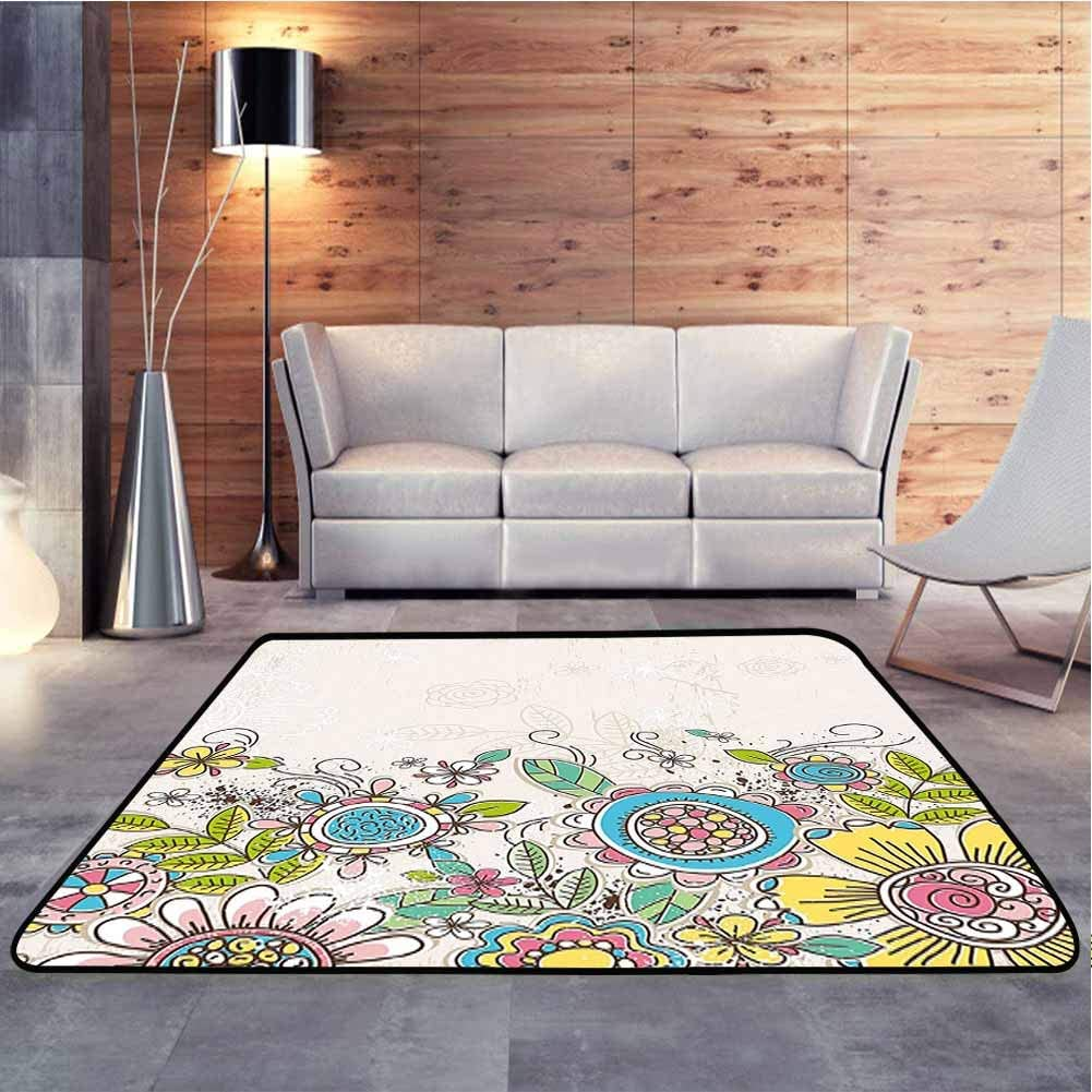 Non Skid Rugs Illustraion of Hand Draw Flowers and Leaves Pattern Coconut Yellow and Pink Vintage Decor Area Rug Carpet for Children Home Decorate, 6.5 x 10 Feet