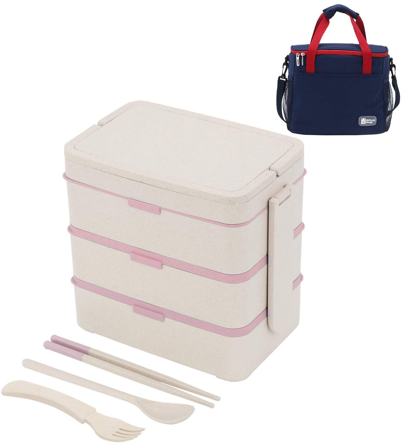 MorNon Lunch Box 3-Layer Bento Box Wheat Straw Eco-Friendly Lunch Box and Large Lunch Bag