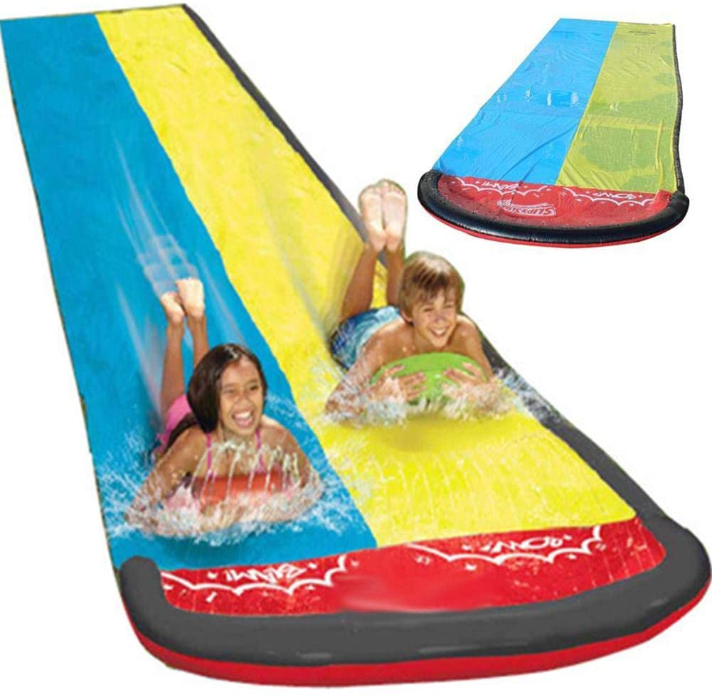 kioski Double Water Slide, Inflatable Lawn Water Slip and Slide Long Large Thick Surfing Watersports Toy Surf Rider Double Sliding Lanes