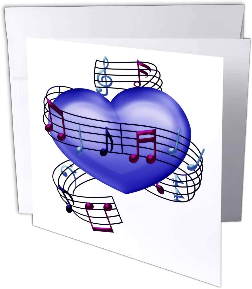 3dRose Anne Marie Baugh - Music - Purple and Blue Musical Notes Wrapped Around A Heart Illustration - 1 Greeting Card with Envelope (gc_222685_5)