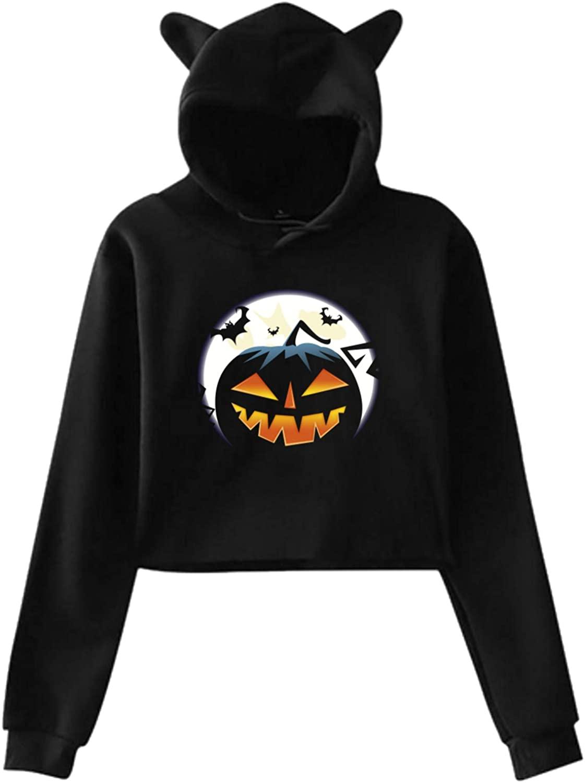 Jack O Lantern Commemorate Cat Ear Hoodie Sweater Women's Long Sleeve Sweater Pullover Top