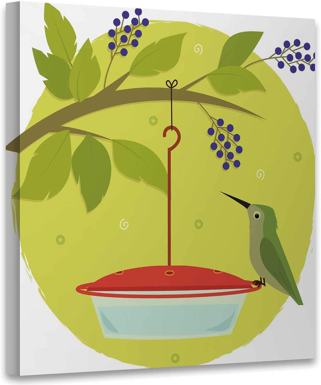 Hummingbird and Feeder Cute Clip Art of Standing on a Feeder.Eps10,Abstract Wall Art Wall Art for Living Room 16x16 Inches