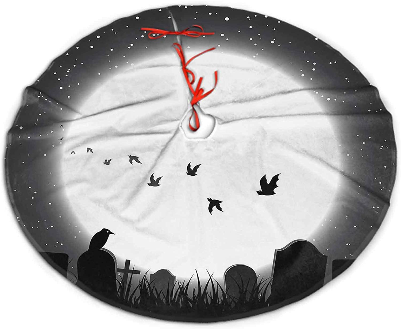 SoSung Christmas Tree Skirt Fabric Halloween Theme with Full Moon Shining for Christmas Tree Decorations 30
