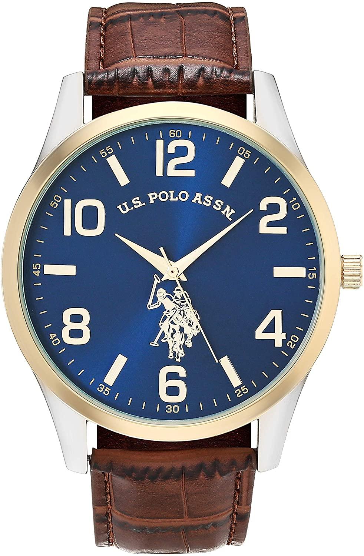 U.S. Polo Assn. Men's Quartz Watch with Alloy Strap, Brown, 16 (Model: USC50509AZ)