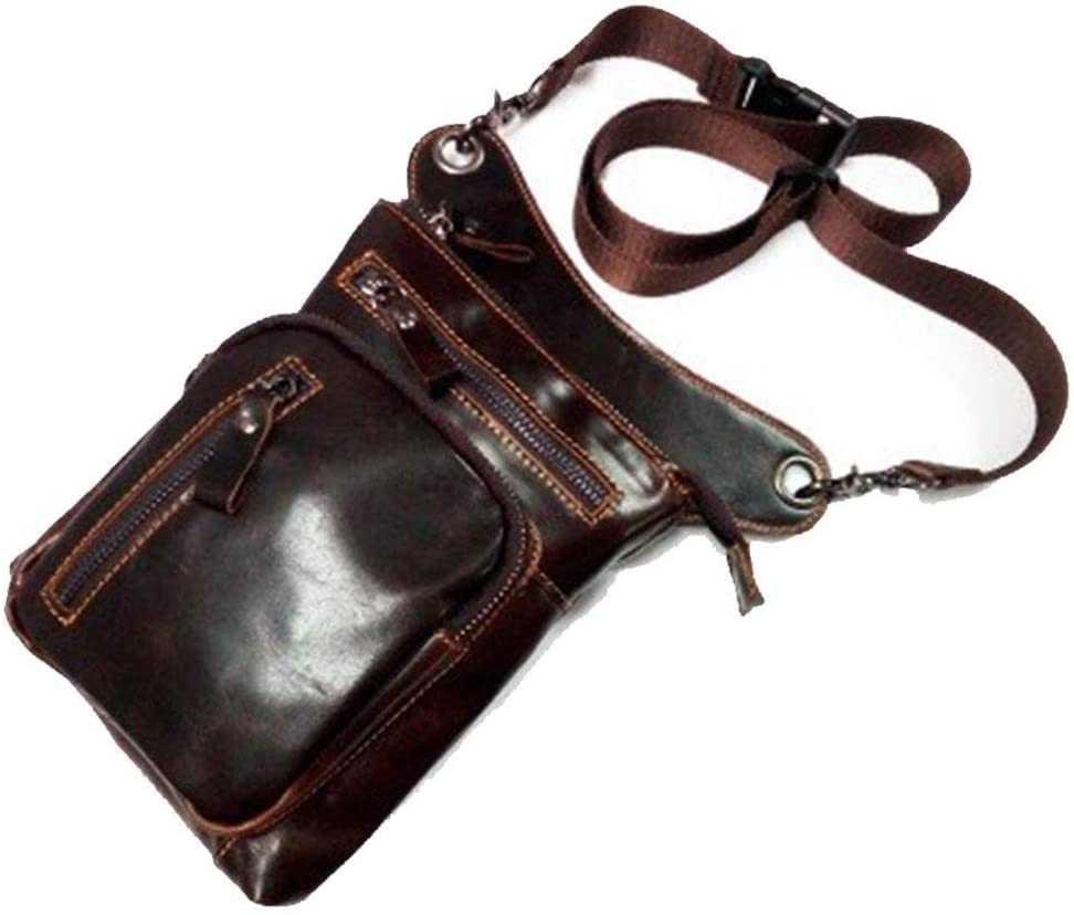 MING-MCZ Fashion Genuine Leather Messenger Crossbody Shoulder Bags for Men Travel Belt Fanny Pack Motorcycle Thigh Drop Leg Bag Male Waist Bags Durable (Color : Coffee, Size : S)