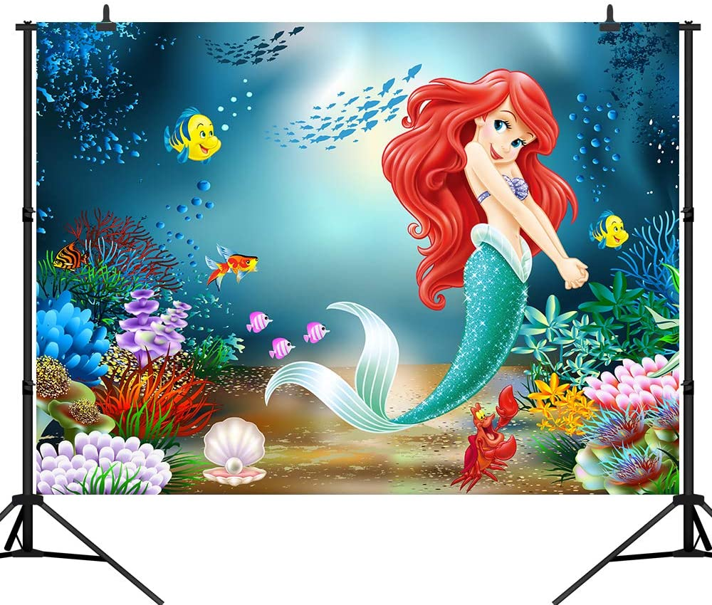 CapiSco 5X3FT Mermaid Backdrop Under The Sea Little Mermaid Fairy Tale Backdrops for Baby Child Girls Adult Birthday Party Banner Mermaid Party Backdrop Photography Background SCO129S