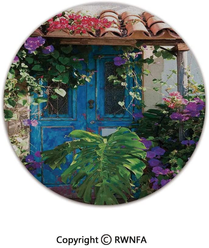 AngelSept Home Decor Printed Beautiful Backing Machine Washable Carpet,Charm of Old Door with Overgrown Exotic Flower Petals and Palm Leaves Scene 5' Diameter Multi,Fluffy Area Rugs