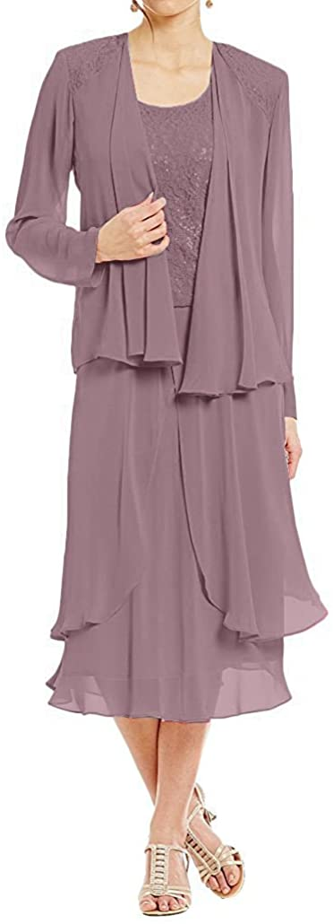 Mother of The Bride Dresses with Jacket Evening Gowns Short Mother Dresses Chiffon