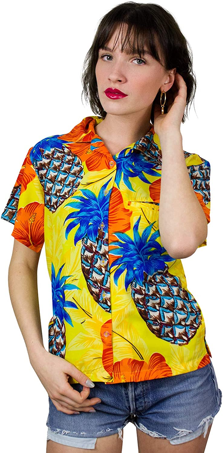 King Kameha Hawaiian Blouse Shirt for Women Funky Casual Button Down Very Loud Shortsleeve Pineapple Hibiscus