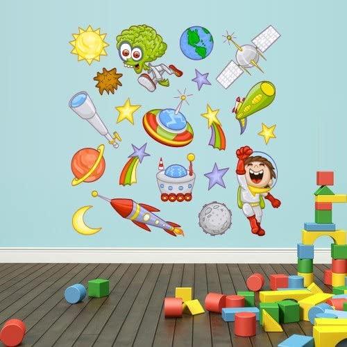 Full Color Wall Decals Vinyl Sticker Decor Art Bedroom Design Mural Kids Nursery Cartoon Cosmos Cosmic Rocket Planet Set (Col88)