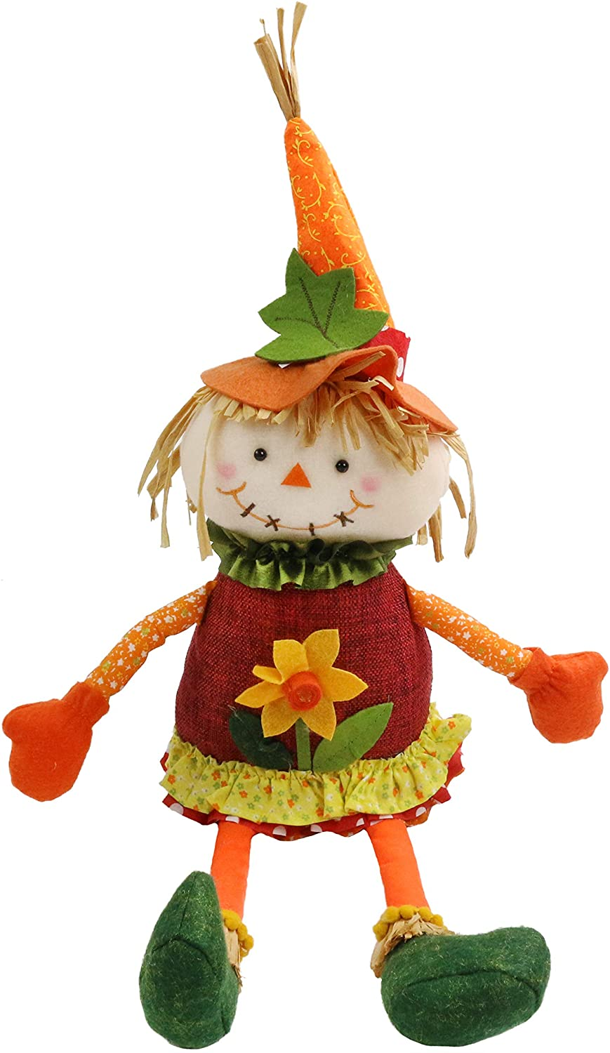 Bstaofy Fall Harvest Girl Scarecrow Sitting Decorations Halloween Thanksgiving Autumn Gift Collection (Girl)