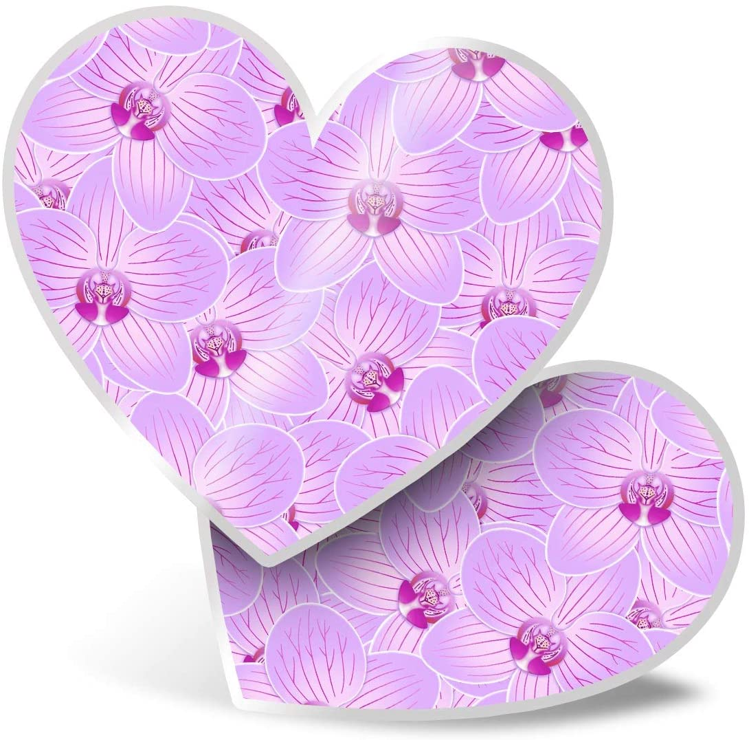 Awesome 2 x Heart Stickers 7.5 cm - Pink Purple Orchid Flowers Fun Decals for Laptops,Tablets,Luggage,Scrap Booking,Fridges,Cool Gift #12947