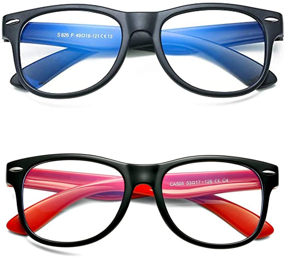 BOURYO Kids Nerd Glasses Blue Light Blocking Fake Eyeglasses for Girls Boys Age 3-12