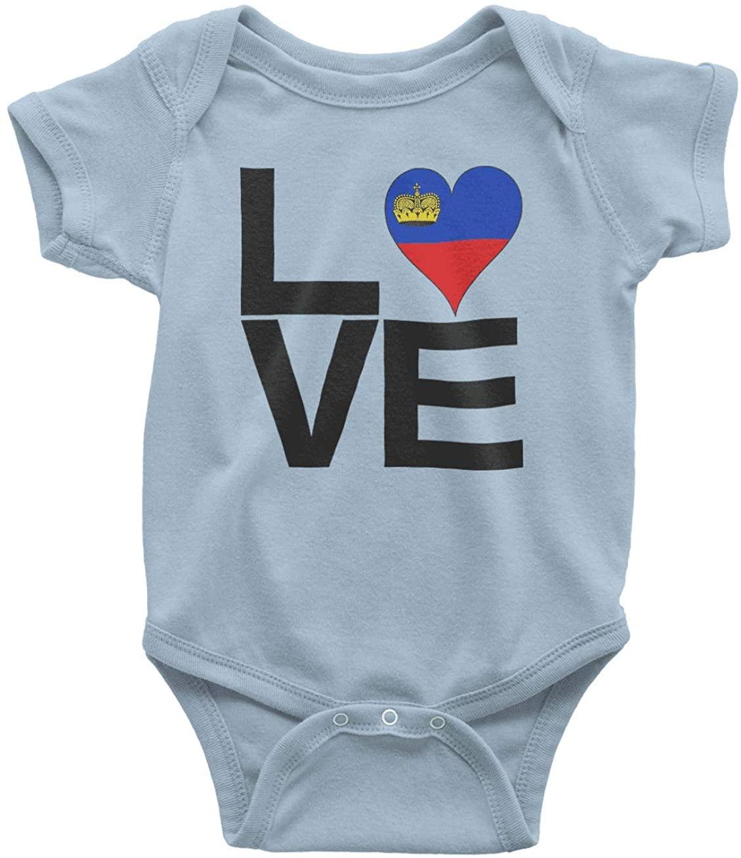 HARD EDGE DESIGN Infant's Love Block Liechtenstein Heart Bodysuit, 6 Months, Light Blue