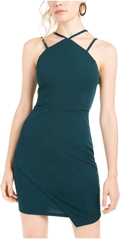 My Michelle Womens Green Spaghetti Strap Halter Short Sheath Cocktail Dress Size 3