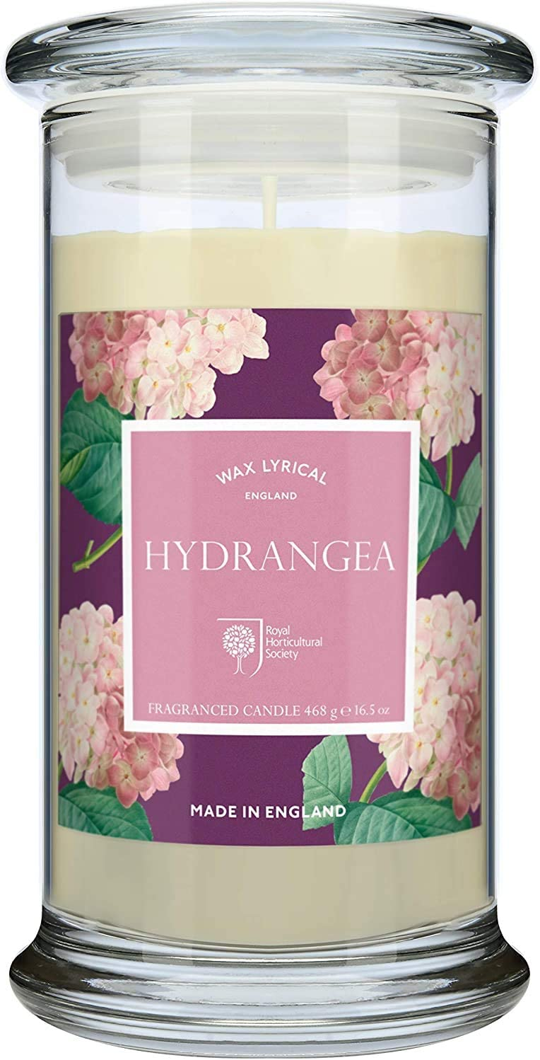 Wax Lyrical Large Floral Hydrangea Scented Candle Jar - RHS Fragrant Garden Collection - Made in England