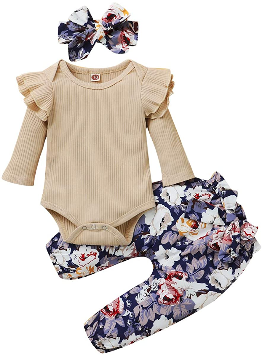 Newborn Baby Girl Clothes Long Sleeve Bodysuit Ruffle Romper Tops Floral Pants Bowknot Headband 3pcs Toddler Outfits Set