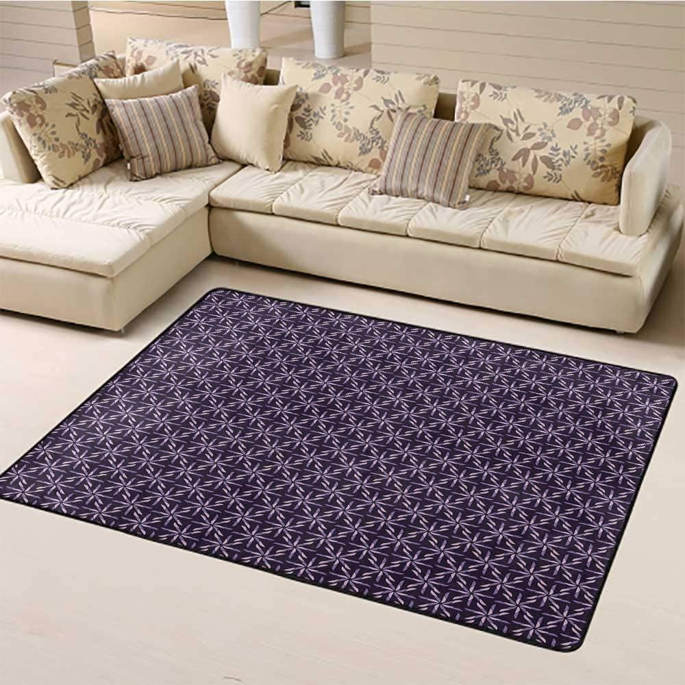 Geometric Floor Mat for Office Chair Carpet 6' x 9', Pinwheel Design with Dark Color Palette Abstract Pattern Winter Motifs HD Printed Rug, Mauve Lavander Purple