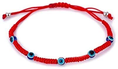 Regeek Strand Bracelets - Handmade Red String Hamsa Hand Turkish Evil Eye Charm Bracelet Lucky Bracelet for Women Men Child red Thread Amulet Jewelry - (Metal Color: HS028)