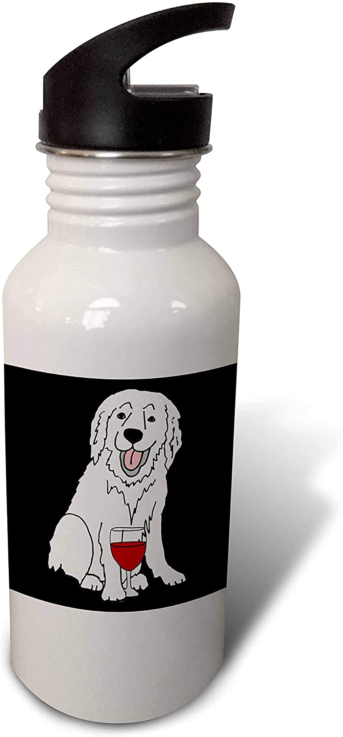 3dRose Cute Funny Great Pyrenees Dog Drinking Wine Cartoon - Water Bottles (wb_326734_2)