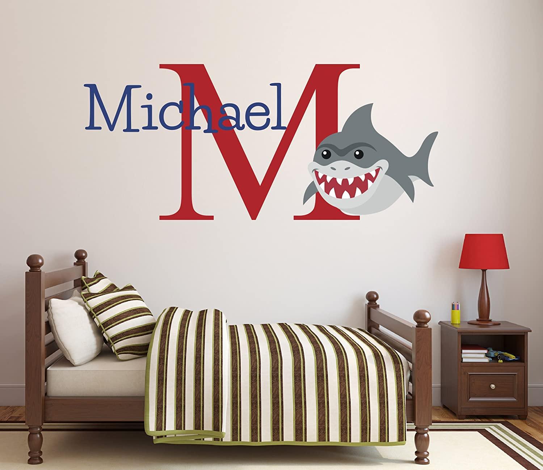 Pinkie Penguin Custom Name Shark Wall Decal Baby Boy Nursery Decor Personalized Kids Gift Vinyl Art (26