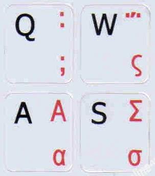 Greek-English Keyboard Label Grey backgroubd Non Transparent for Computer laptops Desktop
