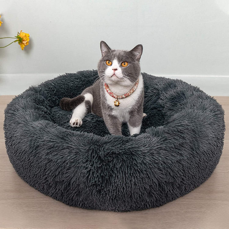 Haieshop Cat Bed Round Cat Bed House Soft Long Plush Best Pet Bed for s Basket Pet Products Cushion Cat Pet Bed Mat Cat House Animals Sofa|Cat Beds & Mats (Color : Deep Grey B, Size : 40cm)