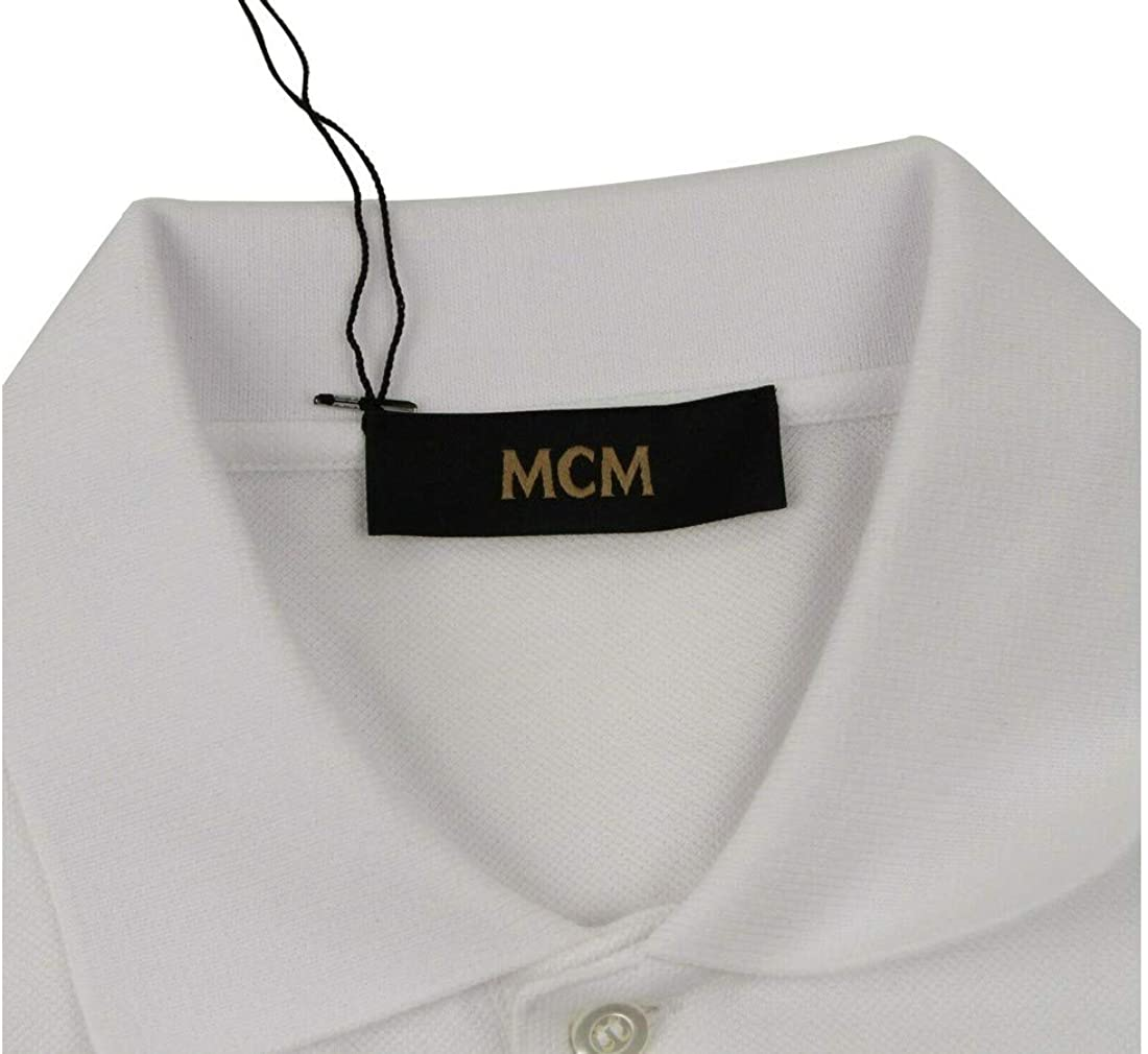 MCM Men's Beverly Hills Limited Edition White Cotton Polo Shirt MHT9SMM98WT (Medium)
