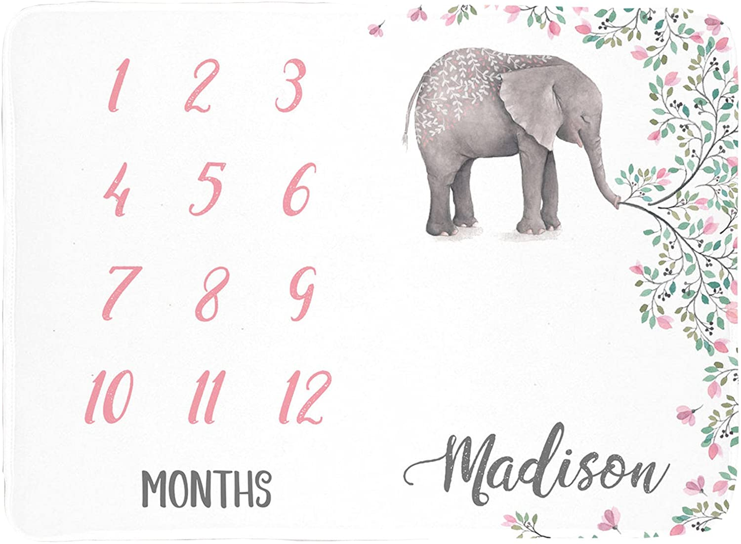 Sobilar Personalized Elephants Baby Month Blanket - Track Baby's Growth, Customized with Baby's Name