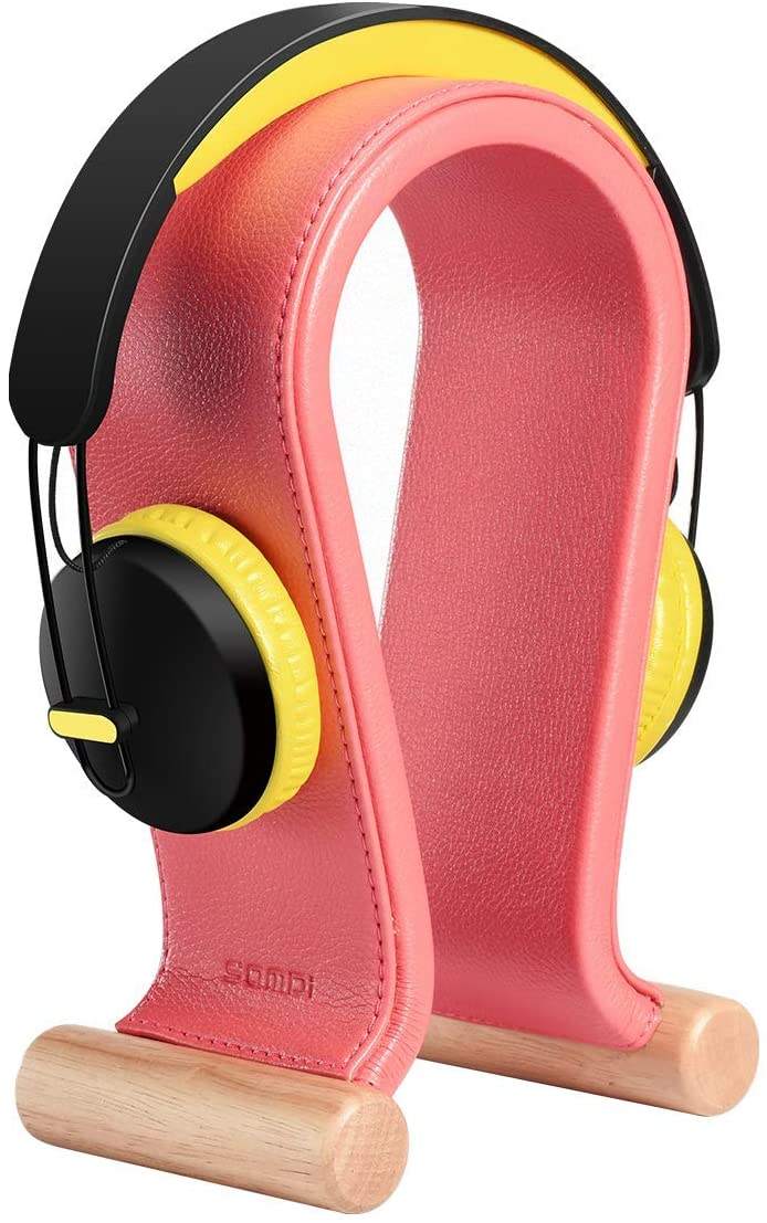 SAMDI Leather Headphone Stand Headset Stand Headphone Holder Universal Gaming Headset Holder - Peony Pink
