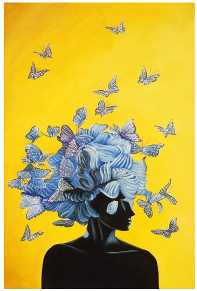 ZSHMG Art Flower Head Sexy Woman Canvas Paintings on The Wall Art Posters and Prints Abstract Butterfly Art Pictures Cuadros 50x80 cm/19.7