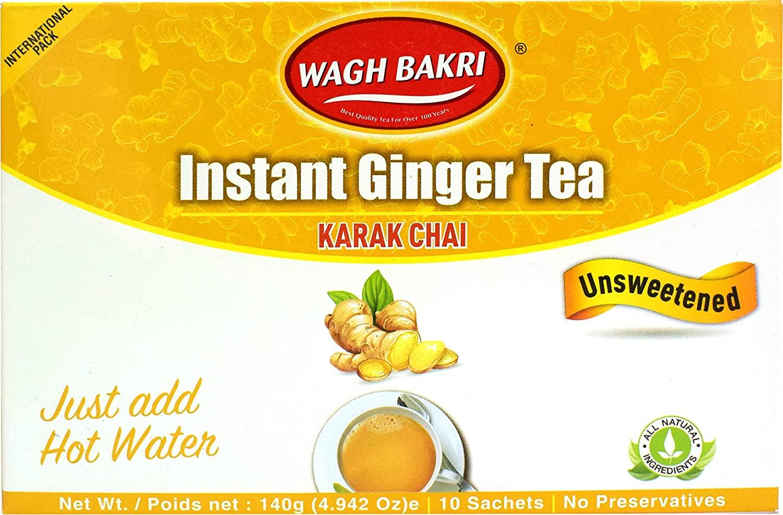 Wagh Bakri Instant Ginger Chai Tea Unsweetened - 10 Sachets