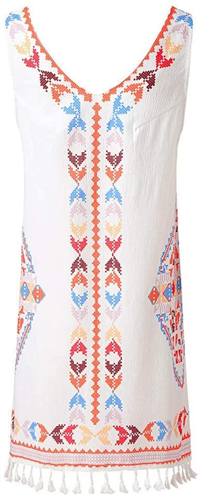 Women's Bohemian Skirt Fringed Beach Tassel V-Neck Dress Casual Print Sleeveless Beach Mini Dress