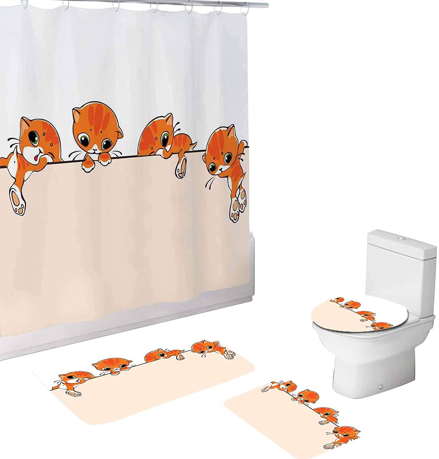 Cat 4 Piece Bathroom Set,Banner with Little Kitties Felines,72x72Shower Curtains with Toilet Pad Cover Bath Mat Shower Curtain Set Orange Cream White