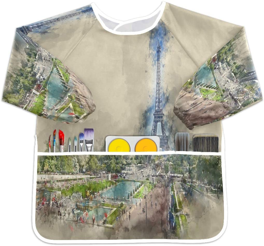 SLHFPX Trocadero Gardens and Eiffel Tower Waterproof Children Art Smock Kids Art Aprons with 3 Roomy Pockets,Painting Supplies