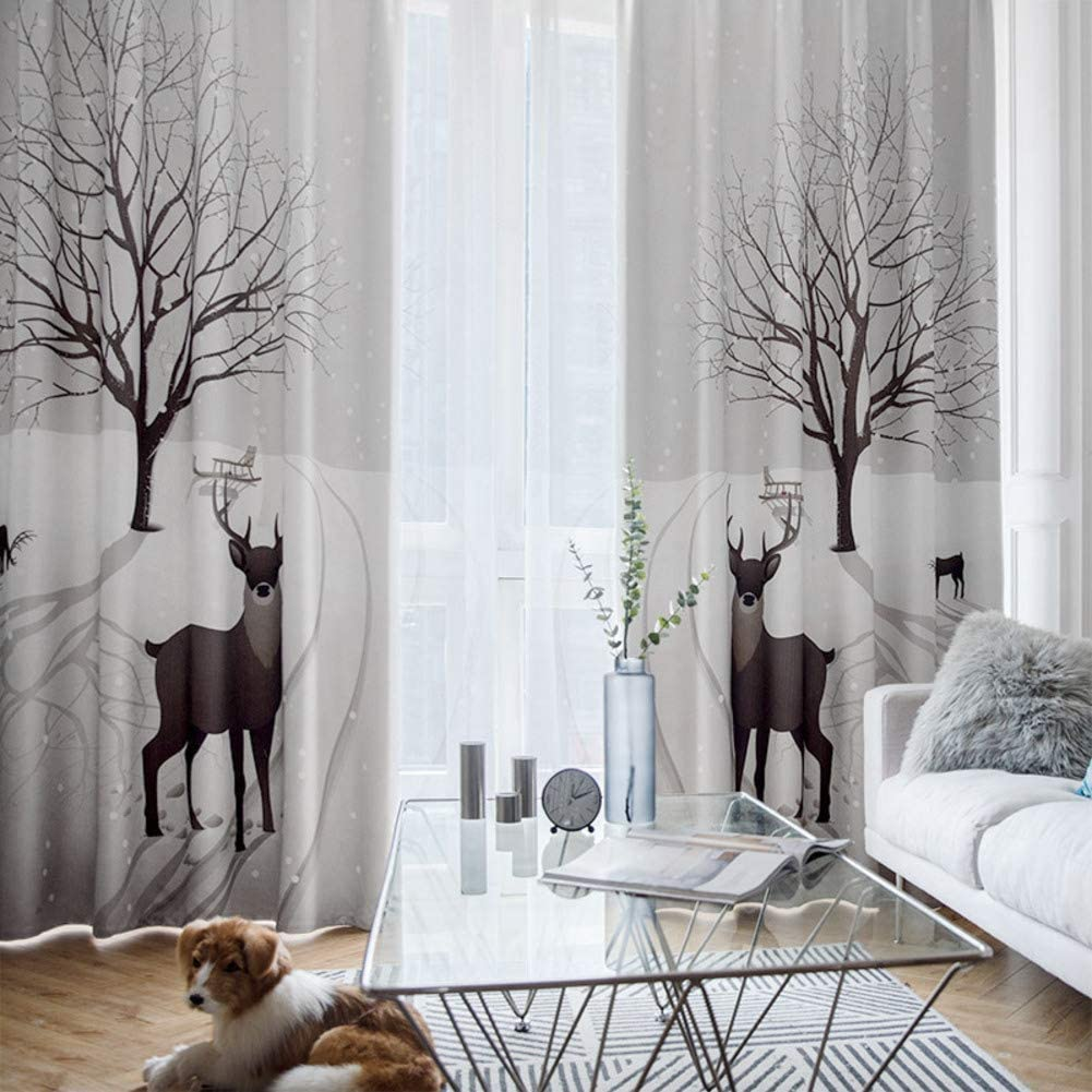 Each Digital Printed Curtain, Thickened Print Stamp Floor-Length Blackout Curtain Fabric Window Screen Drape Living Room Bedroom-Blackout-2 Panels 190 x 270cm Eyelet
