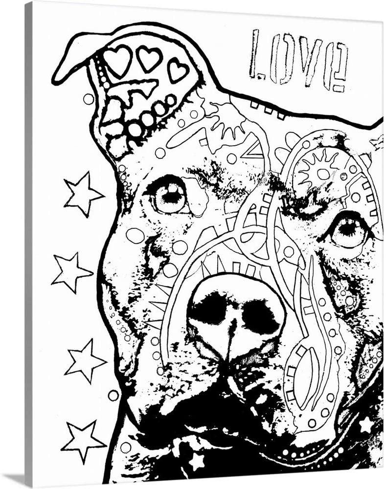 GREATBIGCANVAS Thoughtful Pitbull CB 1 Canvas Wall Art Print, Dog Home Decor Artwork, 36x45x1.5