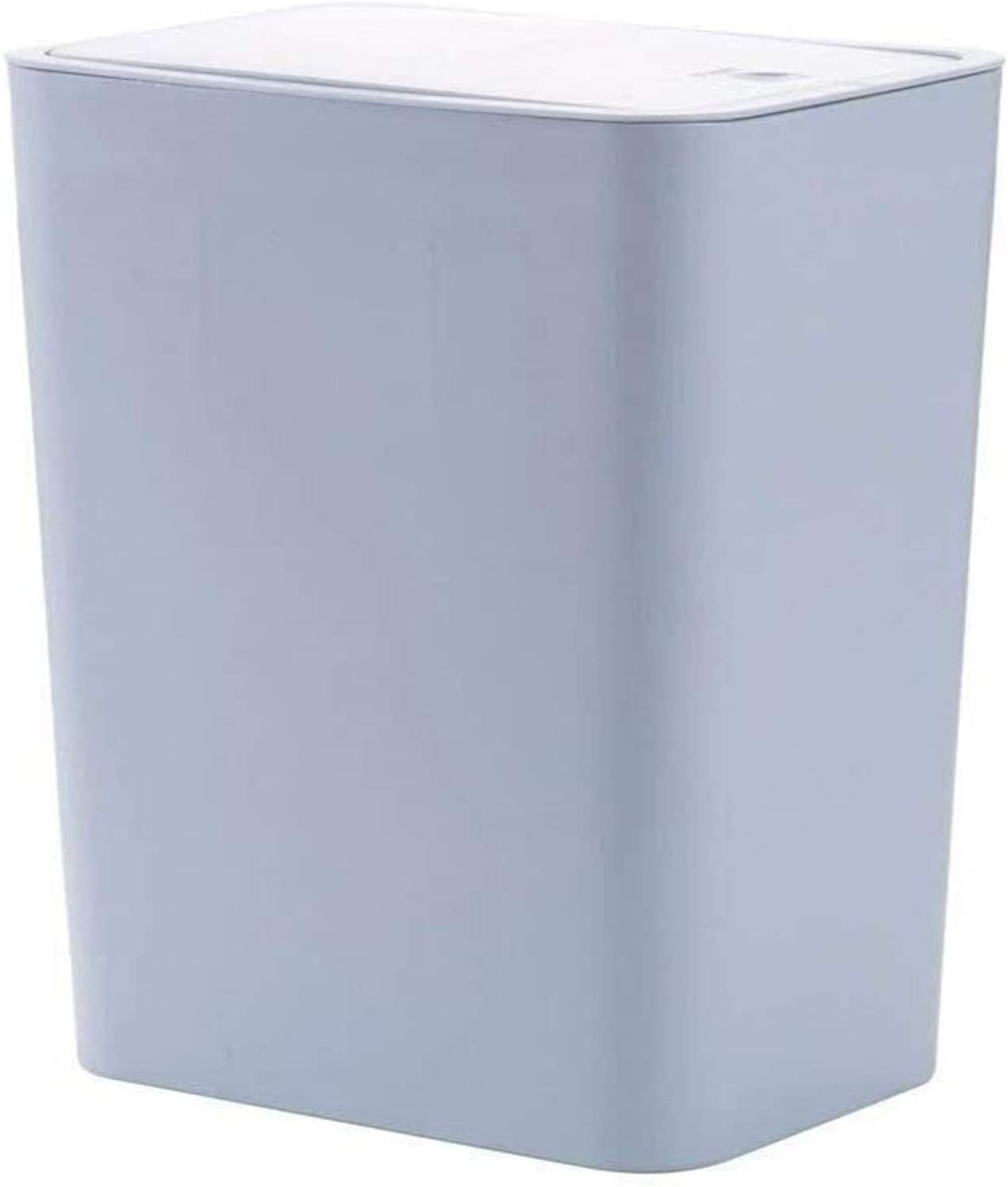ghjk Garbage Bin Plastic Trash Can Push-Lid Touch Recycle Bin Rectangular Living Room Bathroom with Lid Narrow Trash Bin (Color : Gray-Blue, Size : Small)