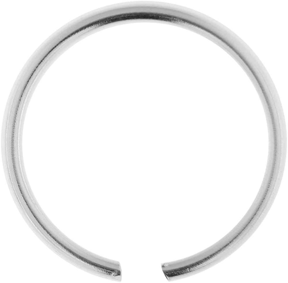 AtoZ Piercing 20 Gauge (0.8MM) Seamless Continuous 925 Sterling Silver Hoop Nose Ring Jewelry