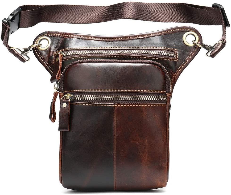 KoTag Mens Waist Bag Fanny Pack Drop Leg Bag Leather Men's Vintage Diagonal Cross-Sports Leg Bag Outdoor Multifunctional Waist Bag Thigh Bag Pouch Tactical Motorcycle Riding