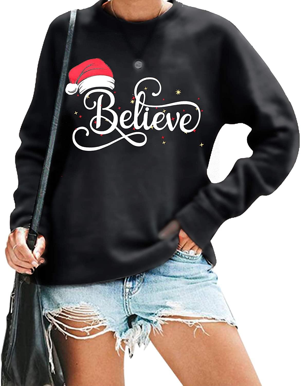 Believe Sweatshirt Women Christmas Funny Graphic Lightweight Blouse Xmas Hat Holiday Cute Tee Tops