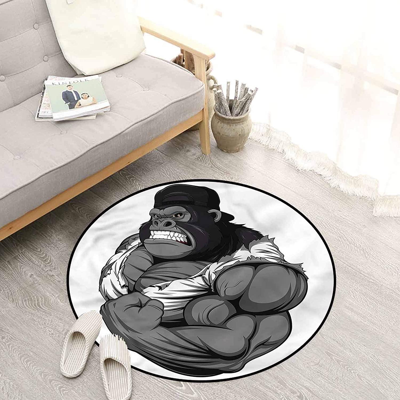Cartoon Kids Rugs 4 Ft, Animal Athlete Gorilla Circle Rug