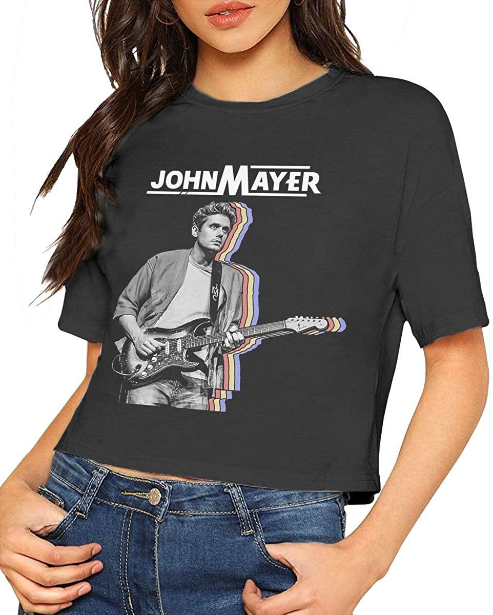 John Mayer Crop Top Tshirt Womens Blouse Dew Navel Tshirt Round Neck Short Sleeve Slub Cotton Top