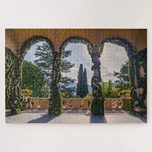 PotteLove Scenic Porch in Villa on Lake Como, Italy Jigsaw Puzzle 1000 Pieces for Adults, Entertainment DIY Toys for Creative Gift Home Decor
