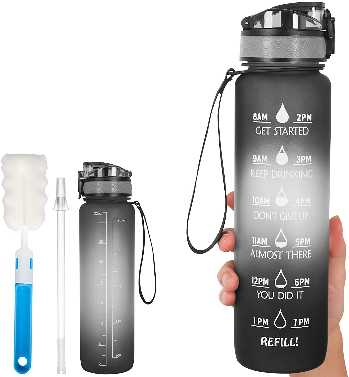 N - A Motivational Water Bottles with Time Marker to Drink BPA Free Non-Toxic Wide Mouth Leakproof 32oz Sports Water Jug with Removable Straw Strainer for Gym Workout Outdoors