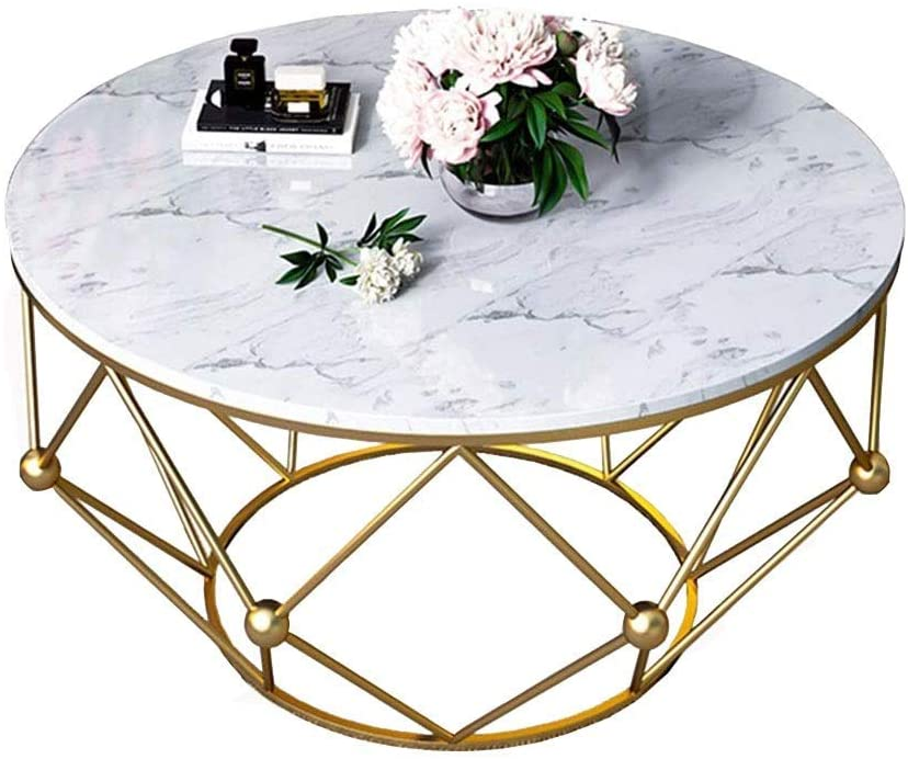 MTCGH Home Office Desk,Nordic Style Marble Coffee Table Iron Bracket Living Room Round Table Environmentally Friendly Paint,50×50×44Cm,50×50×44Cm